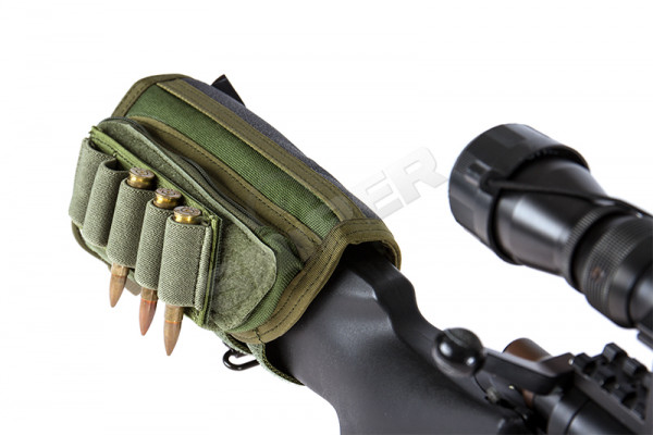 Sniper Rifle Stock Ammo Pouch, OD Green