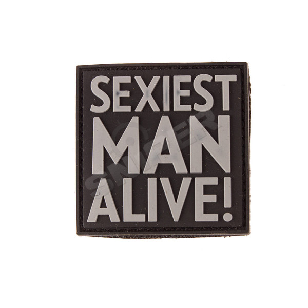 Sexiest Man Alive PVC Patch, grey (B50)