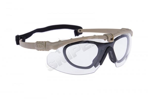 Battle Pro Schutzbrille Set Tan, Clear Lens